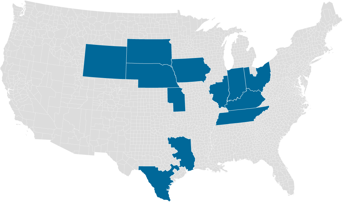 Map of United States showing coverage areas