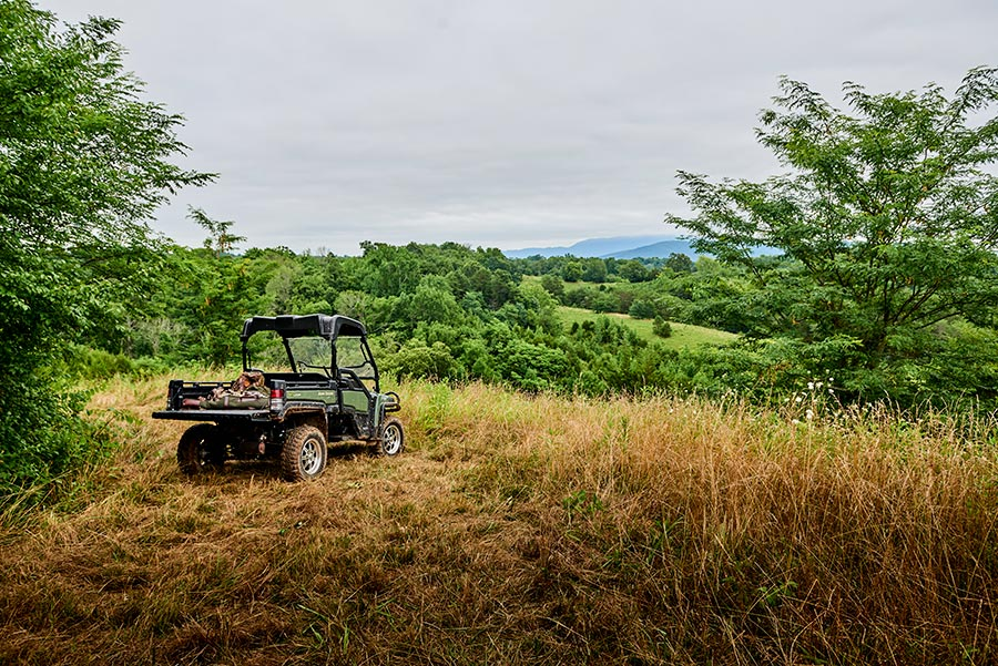 ATV parked in a grassy field